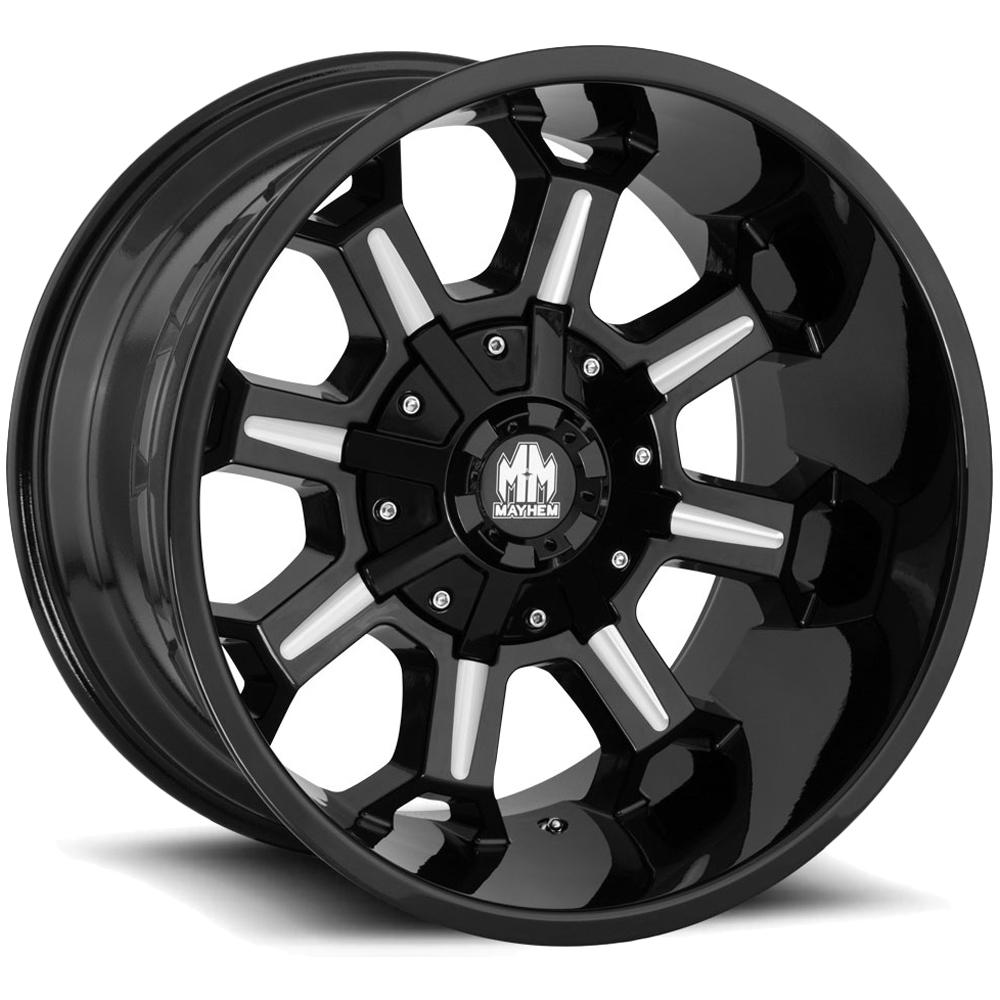 "4-Mayhem 8105 Combat 20x9 5x5.5""/5x150 +18mm Black/Milled Wheels Rims 20"" Inch"