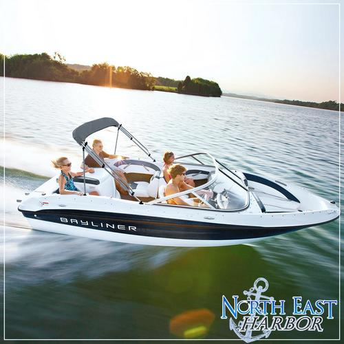 "North East Harbor 4 Bow Boat Bimini Top Cover Gray With Rear Support Poles and Zippered Boot Fits 79""-84"" Width Beam V-Hull Fishing Ski Boat Runabout Pro Bass"