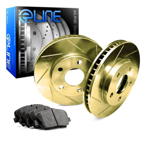 For 1991 Plymouth Colt Front eLine Gold Slotted Brake Rotors+Ceramic Brake Pads