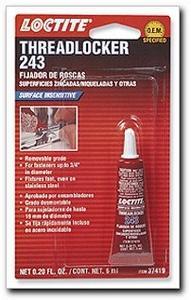 243 Blue Threadlocker Oil Resistant/Medium Strength, 6 ml. (37419)
