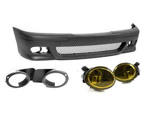 97-03 BMW E39 5-SERIES M5 STYLE FRONT BUMPER W/ YELLOW ECODE FOG LIGHTS + COVERS