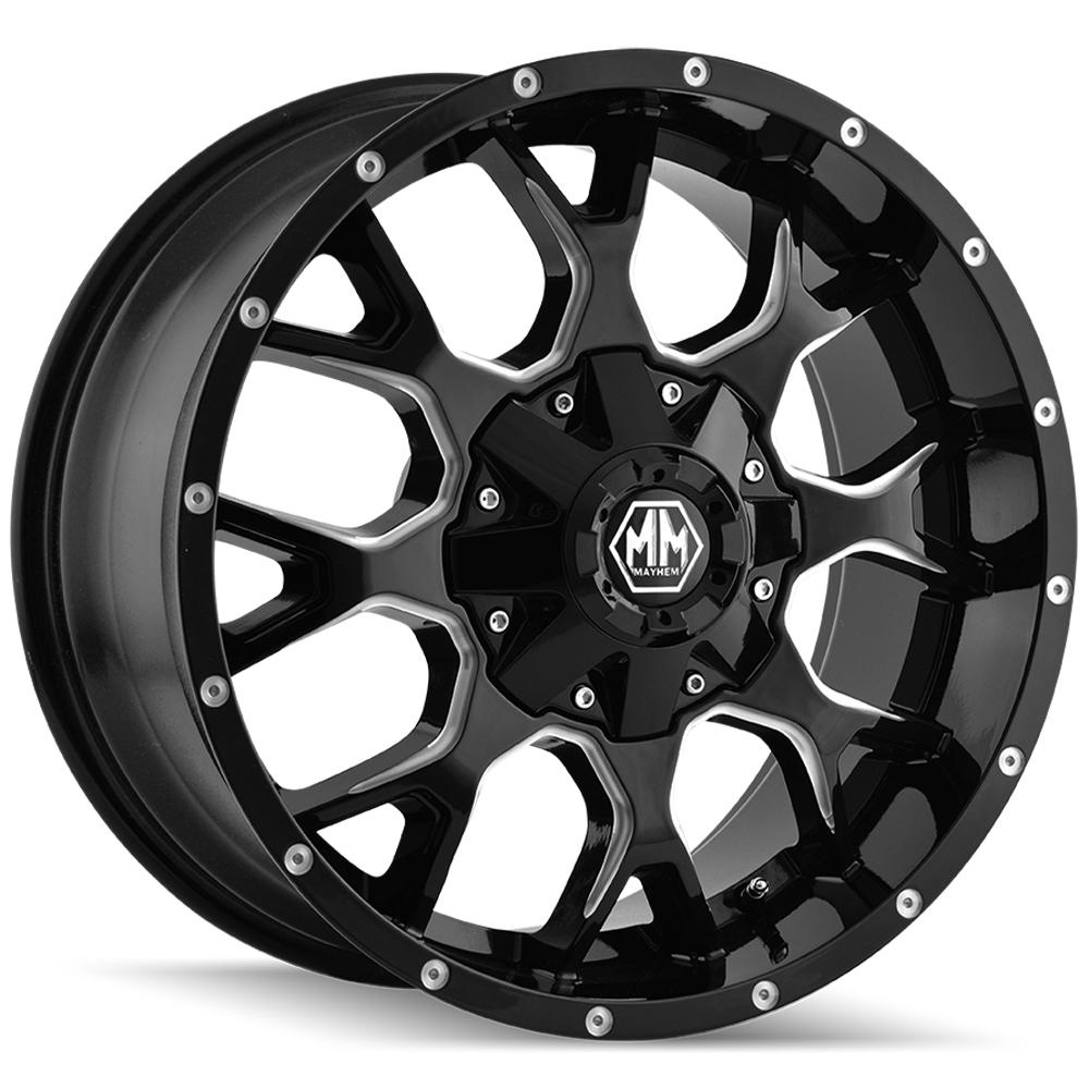 "4-Mayhem 8015 Warrior 17x9 8x6.5""/8x170 -12mm Black/Milled Wheels Rims 17"" Inch"