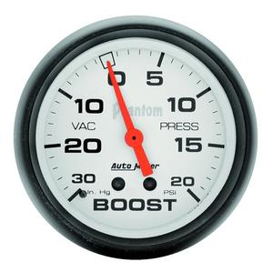 "AutoMeter 5801 Phantom Mechanical Boost/Vacuum Gauge 2 3/8"" 30"" Hg./20 psi"