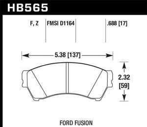 Hawk Performance HB565F.688 Disc Brake Pad Fits 06-13 6 Fusion Milan MKZ Zephyr