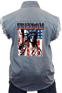 Men's Sleeveless Denim Shirt Freedom Statue of Liberty Biker Vest: LIGHTDENIM (XL)