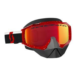 Scott USA Hustle Snowcross Goggles Red/White / Amp Red Chrome Lens (Red, OSFM)