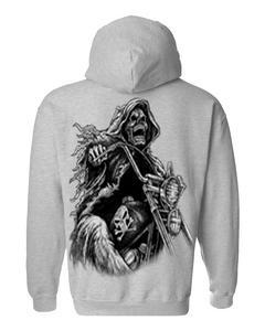 Men's/Unisex Zip-Up Hoodie OVERSIZED Biker Grim Reaper Skeleton GREY (Medium)