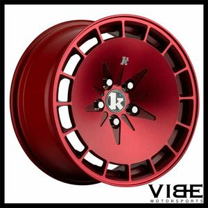 "16"" KLUTCH KM16 16X8/16X9 4X100 RED STAGGERED WHEELS RIMS FITS MAZDA MIATA"