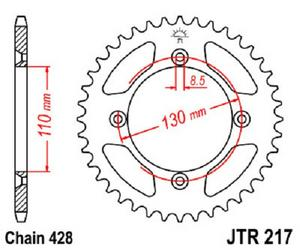 JT Sprockets Steel Rear Sprocket 56T 428 Pitch JTR217.56