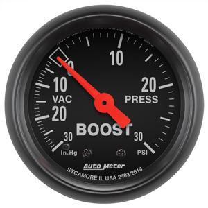 "AutoMeter 2614 Z-Series Mechanical Boost/Vacuum Gauge 2 1/16"" 30"" Hg./30 psi"