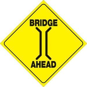 Voss 408 BRIA YR 12x12in. Reflective Trail Sign - Bridge Ahead (Yellow/Black)