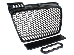 05-08 AUDI A4 B7 RS4 STYLE EURO MESH BADGELESS GRILLE W/ BADGE HOLDER - BLACK