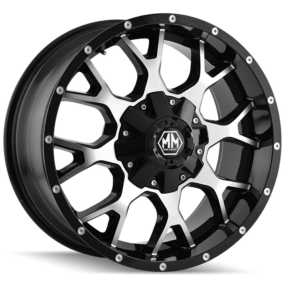 "4-Mayhem 8015 Warrior 20x9 5x5""/5x5.5"" +0mm Black/Machined Wheels Rims 20"" Inch"