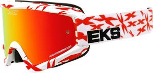 EKS Adult MX ATV Scatter Goggles White/Red With Mirror Lens