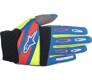 Alpinestars Techstar Factory Gloves Blue/Fluorescent Yellow/Red (Yellow, Large)