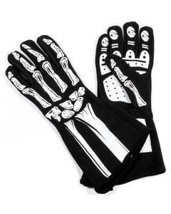 RJS SAFETY Black / White Small 2 Layer Skeleton Driving Gloves P/N 600090168