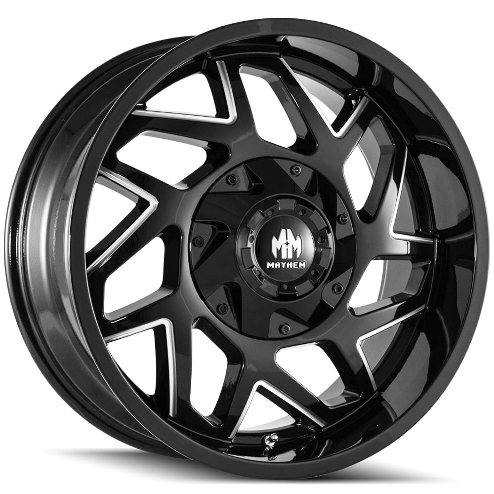 "4-Mayhem 8106 Hatchet 20x9 5x5.5""/5x150 +18mm Black/Milled Wheels Rims 20"" Inch"