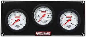 QUICKCAR RACING PRODUCTS White Face Gauge Panel Assembly P/N 61-7012