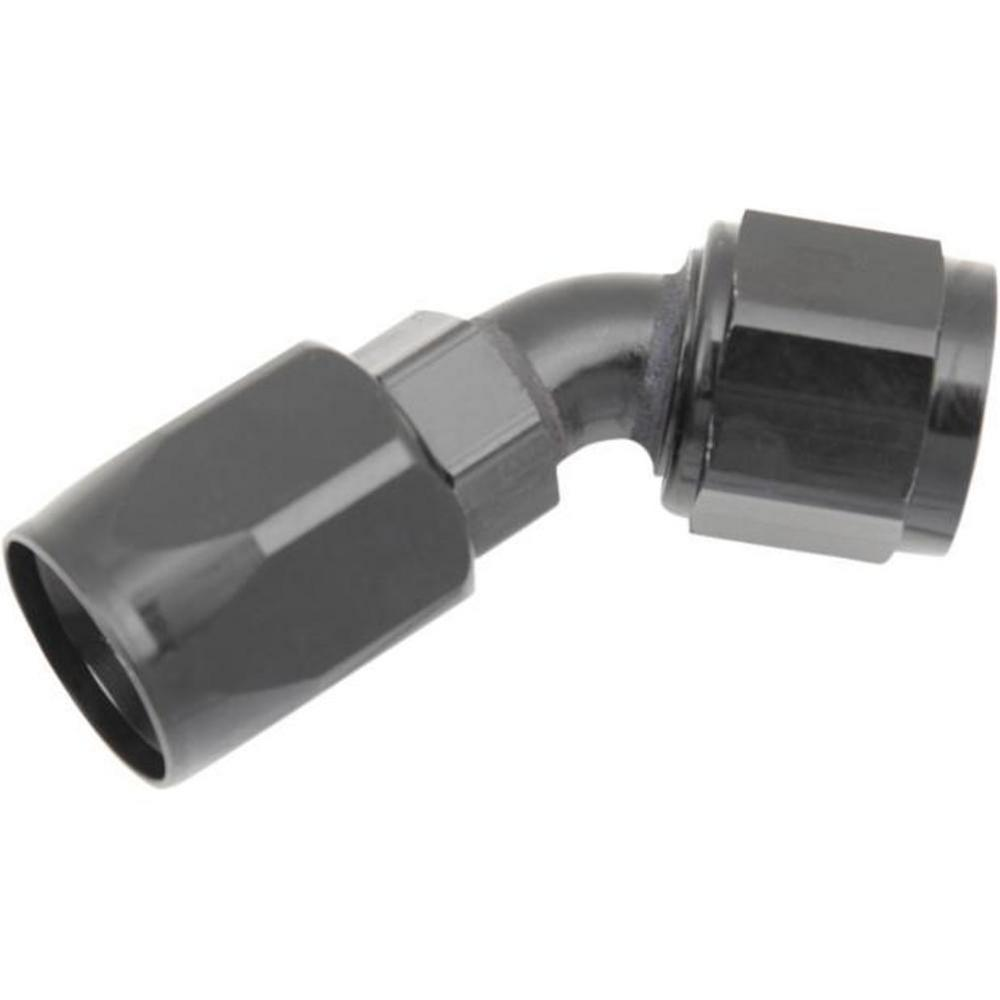 Russell R10103 -8 AN 45 Degree Full Flow Non-Swivel Hose End - Black Anodized