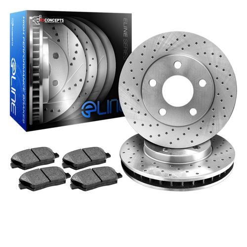For 2003 Dodge Ram 1500 Van Rear eLine Drilled Brake Rotors+Semi-Met Brake Pads