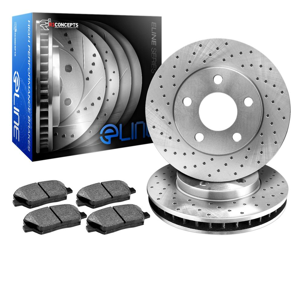 For 1998 Ford Contour Rear eLine Drilled Brake Rotors + Semi-Met Brake Pads
