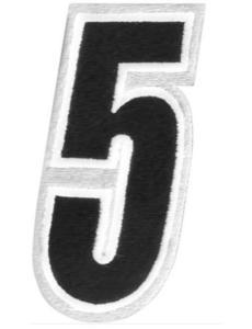 American Kargo 3550-0196 Number Patch - #5 - White/Black