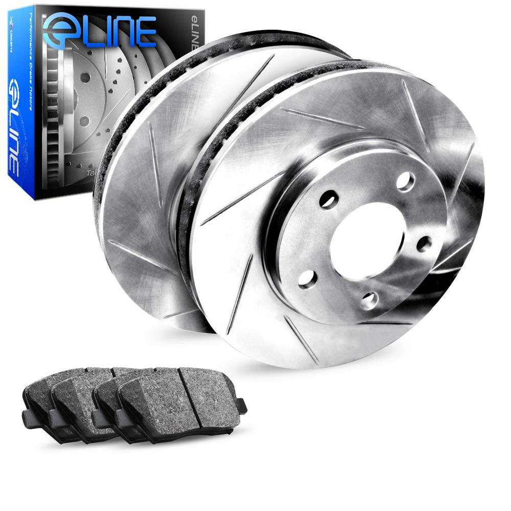 For 2007-2008 Mini Cooper Rear eLine Slotted Brake Rotors + Semi-Met Brake Pads