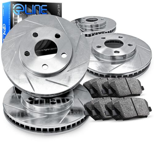 For 2011-2014 BMW X5, X6 Front Rear Rear Slotted Brake Rotors+Semi-Met Brake Pad