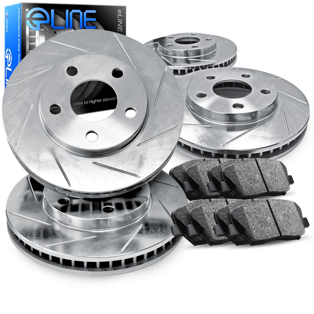 For Volkswagen Jetta, Golf Front Rear  Slotted Brake Rotors+Semi-Met Brake Pads
