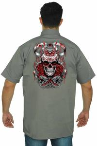 Men's Mechanic Work Shirt Star Red Skull with Roses GREY (Large)