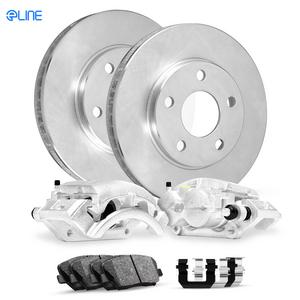 Front Eline Brake Calipers + Brake Rotors + Ceramic Brake Pads+Hardware