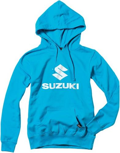 Factory Effex Licensed Suzuki Stacked Pullover Hoody Aquamarine Women's Size M