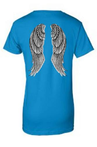 Women's Juniors Biker Angel Wings Turquoise T-shirt (XXL)