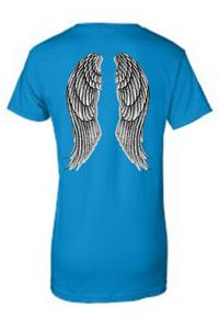 Women's Juniors Biker Angel Wings Turquoise T-shirt (Small)