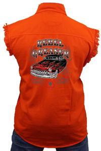 Men's Sleeveless Denim Shirt Rebel Greaser Biker Vest: ORANGE (6XL)
