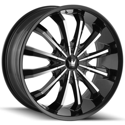 "4-Mazzi 341 Fusion 20x8.5 5x110/5x115 +35mm Black/Machined Wheels Rims 20"" Inch"