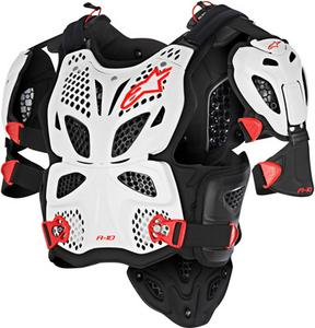 Alpinestars A-10 Full Chest Protector White/Black/Red Mens Size XS/S