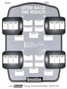 QUICKCAR RACING PRODUCTS After Race Tire Setup Chart 50 pc P/N 51-215
