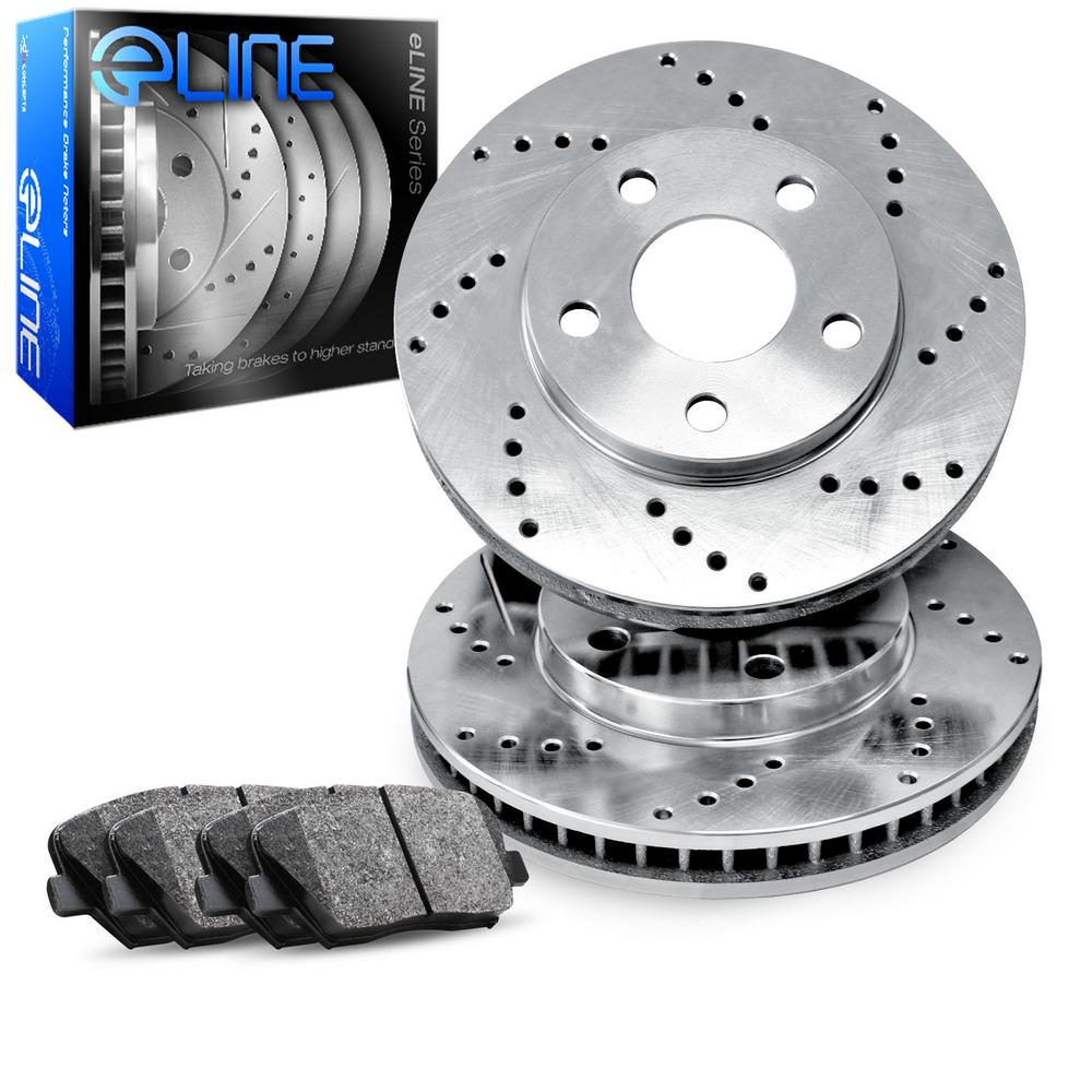 For 1991-1996 Dodge Dakota Front eLine Drilled Brake Rotors+Semi-Met Brake Pads