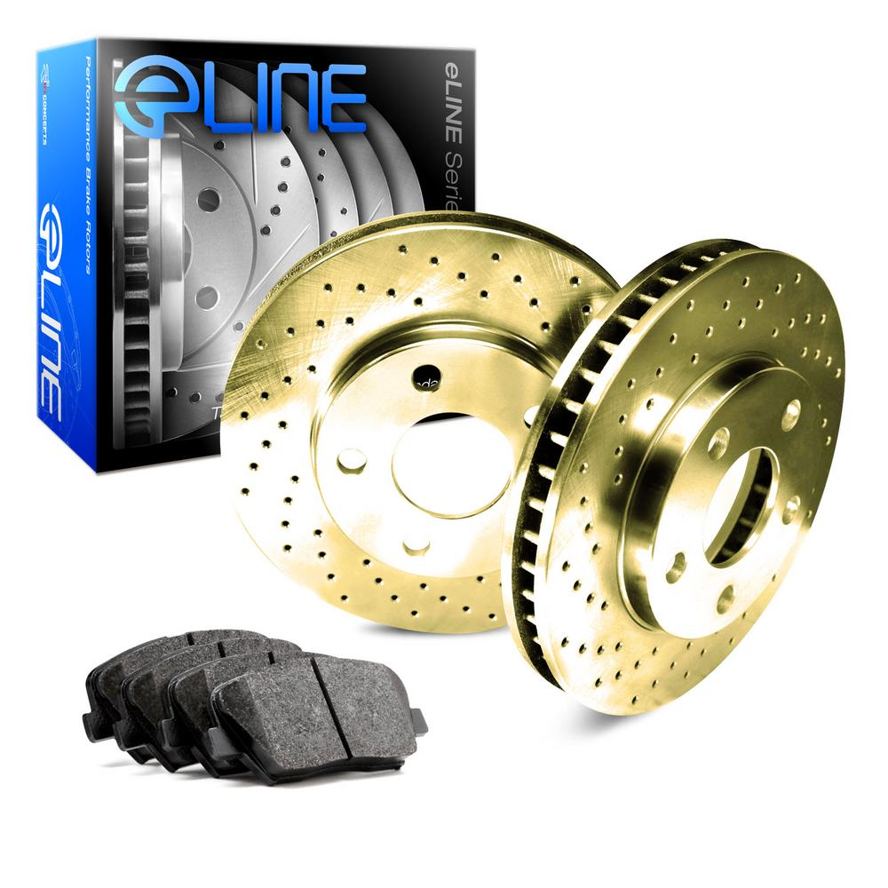 For 1990-1991 Toyota Celica Front eLine Gold Drilled Brake Rotors+Semi-Met Pads