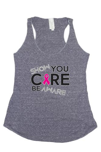 Women's Show You Care Be Aware Breast Cancer Awareness Trie Blend Tank: DENIM (LG)