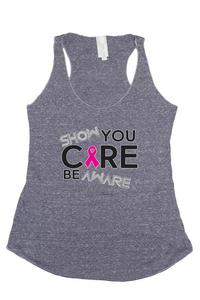 Women's Show You Care Be Aware Breast Cancer Awareness Trie Blend Tank: DENIM (Md)