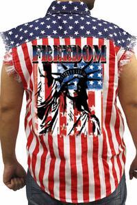 Men's USA Flag Sleeveless Denim Shirt Freedom Statue Of Liberty Biker Vest: USA (4XL)