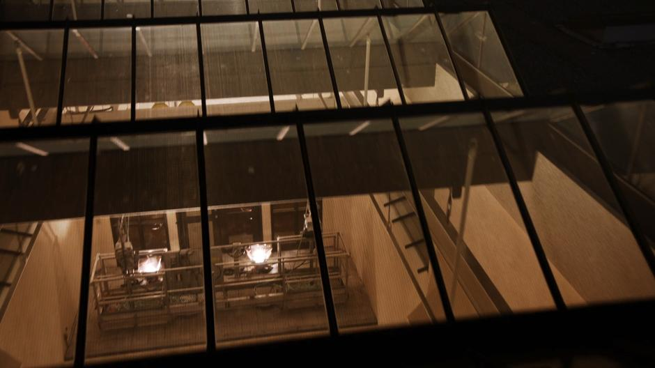View from the rooftop looking down through the skylights.