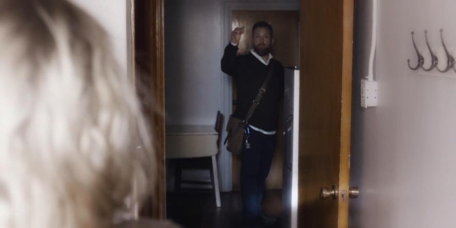 David reminds Marcy to lock the door of her place after he leaves.