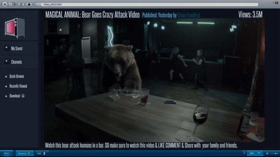 The bear pushes at the table in the video from the bar.