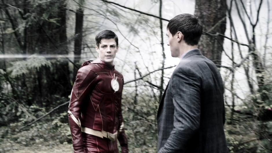 Barry and Ralph stop after flashing away from DeVoe.