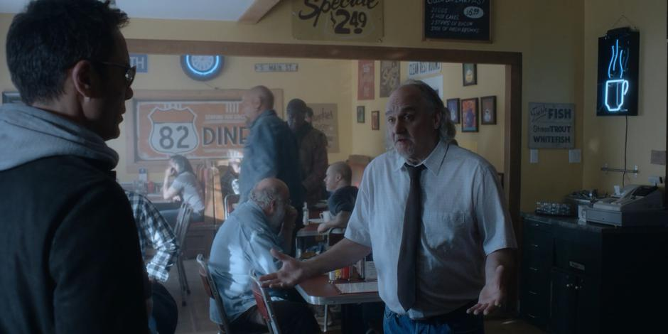 The owner of the diner tells Grant that he doesn't want any more trouble.