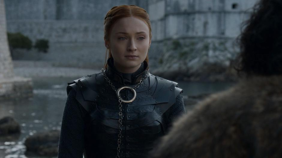 Sansa says her goodbyes to Jon.