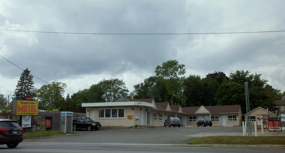 Establishing shot of the motel from across the street.